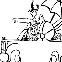 Beach trip coloring page