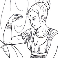 indian girl coloring image
