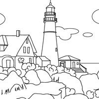 maine lighthouse coloring picture