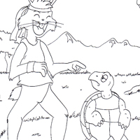 hare and tortoise coloring page