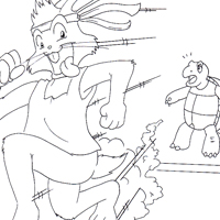 rabbit and the tortoise coloring page