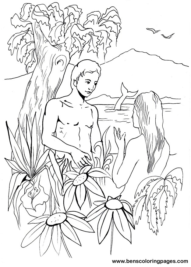 Adam and eve bible coloring book.