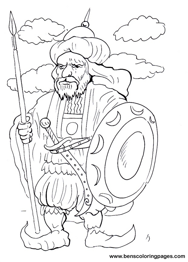 arab warrior coloring page for free