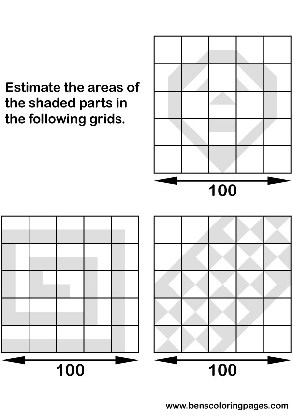 Calculate the shaded areas of the following diagrams