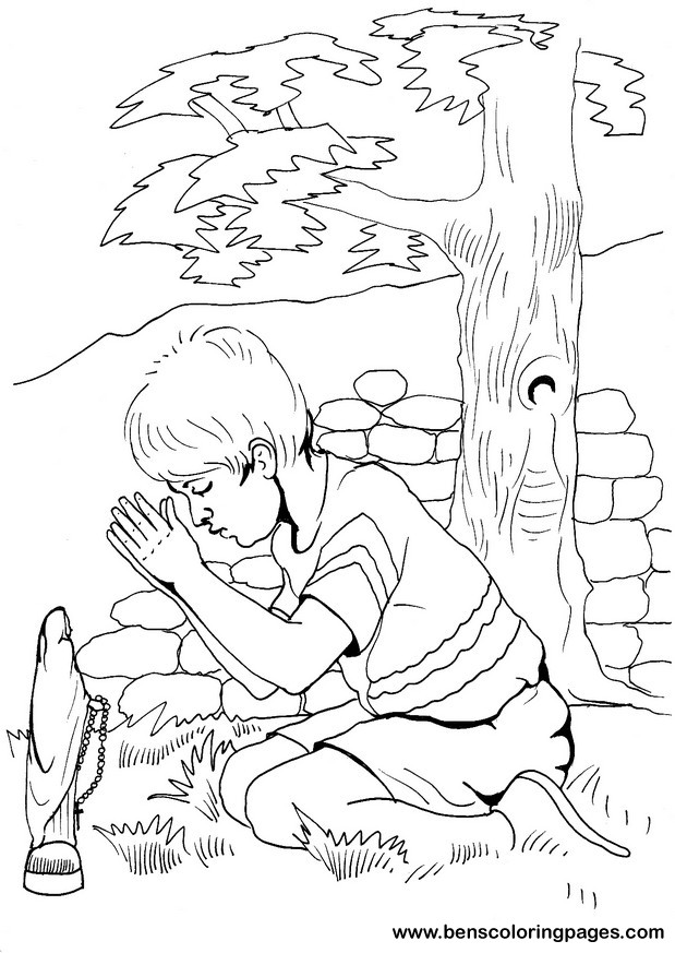 Boy Praying Bible Coloring Page