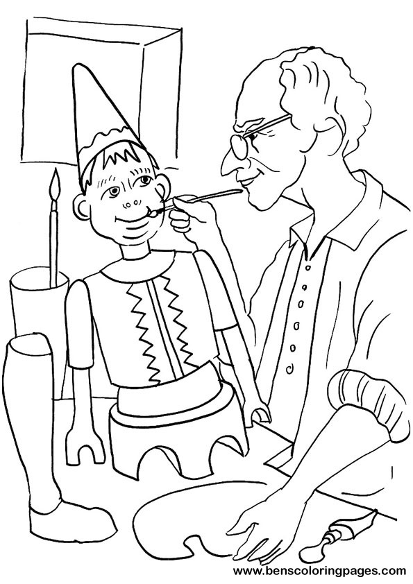 Printable Pinocchio coloring sheet