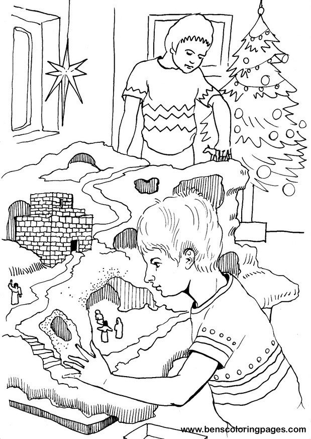 christmas crib coloring page