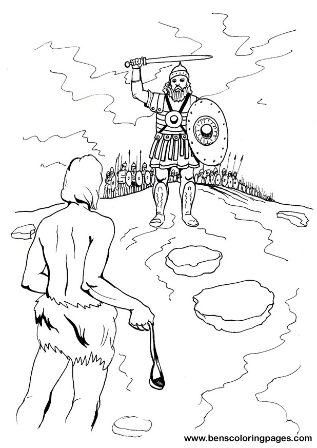 David and Goliath coloring book