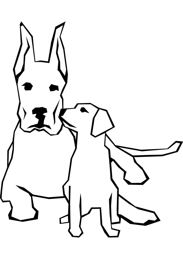 Dog and puppy free coloring page