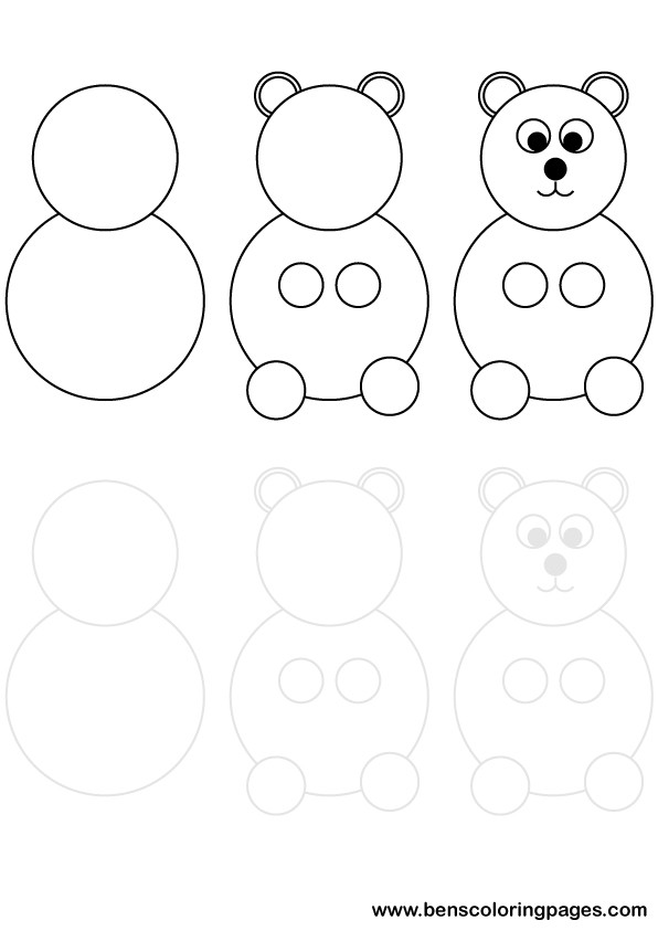 Bear drawing printable exercise