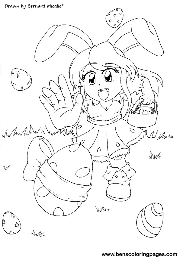 easter eggs coloring page for kids