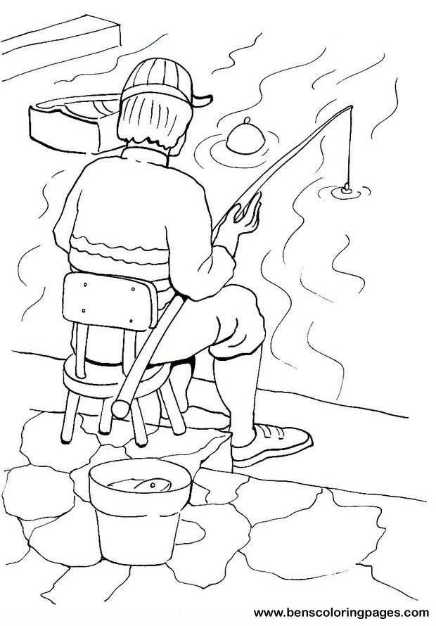 Fishing coloring pages for children