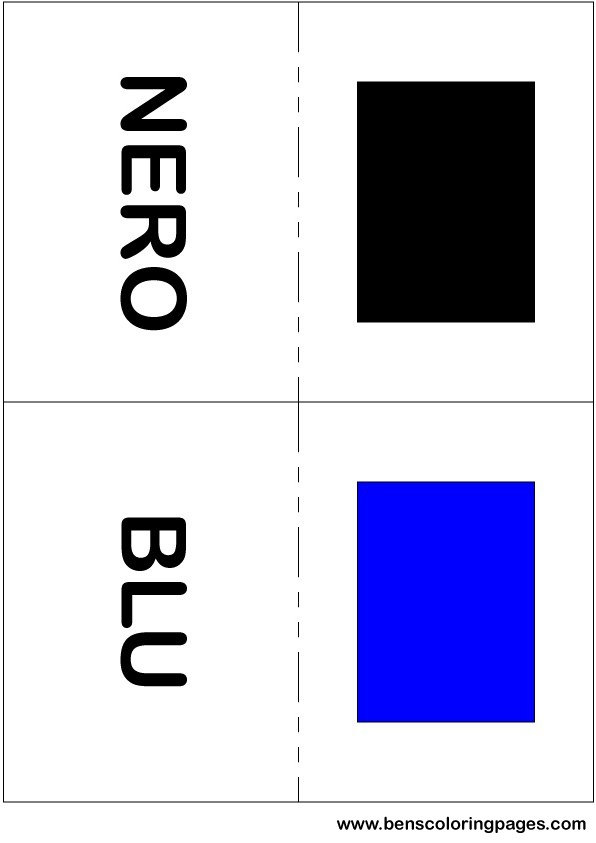 Black and blue colors flashcard in Italian