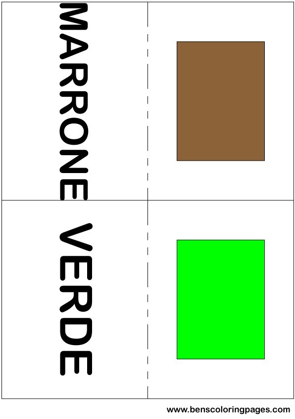 Brown and green colors flashcard in Italian