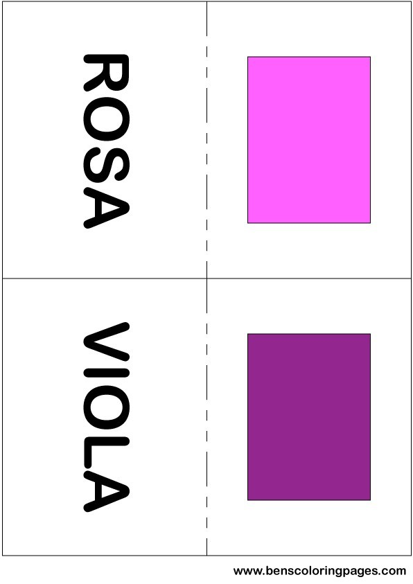 Pink and purple colors flashcard in Italian