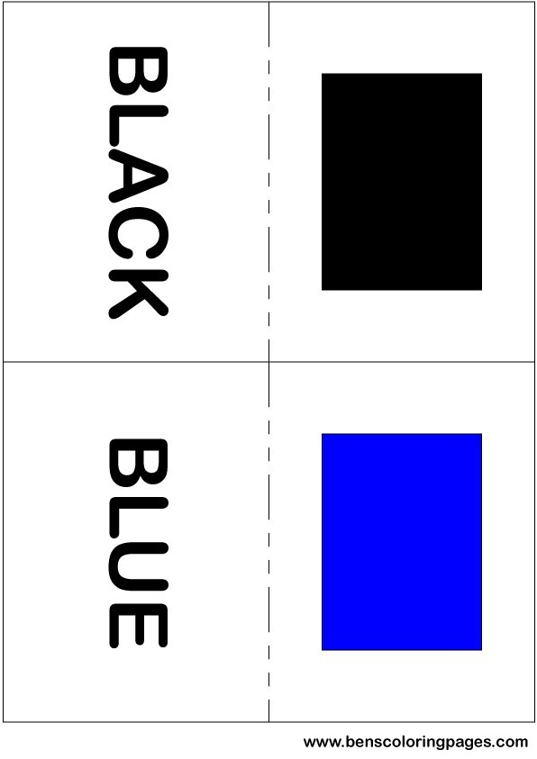 Black and blue colors flashcard in English