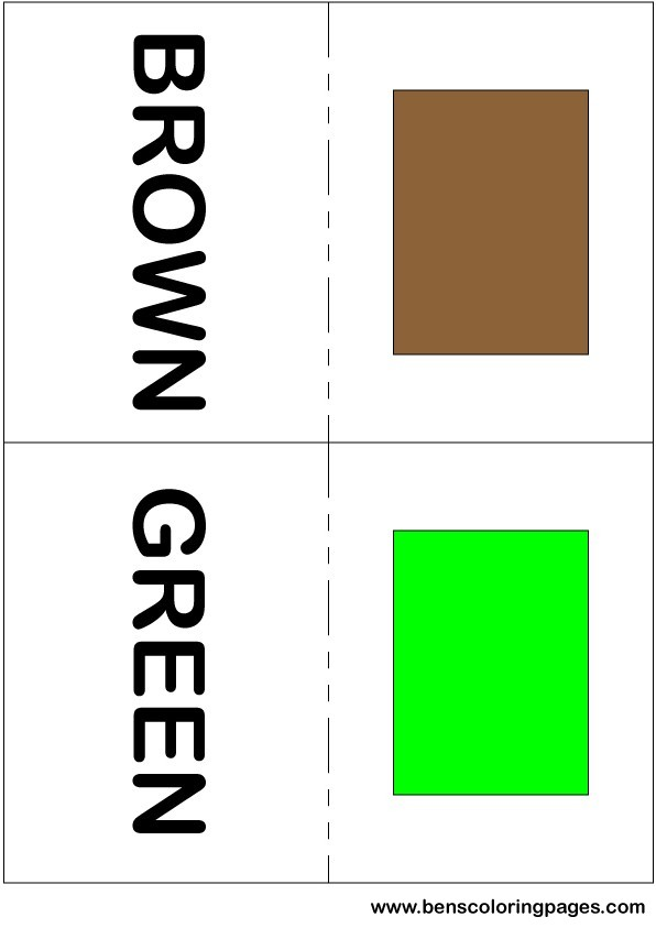 Brown and green colors flashcard in English