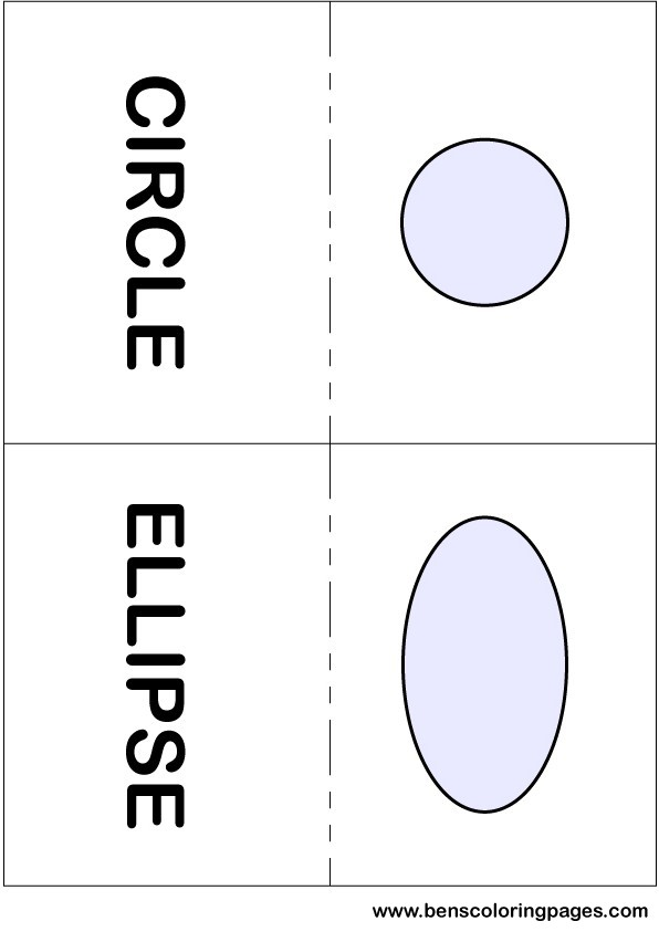 Circle and ellipse flashcards in English