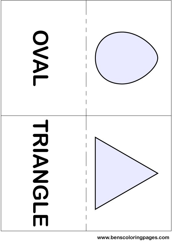 Oval and triangle flashcards in English