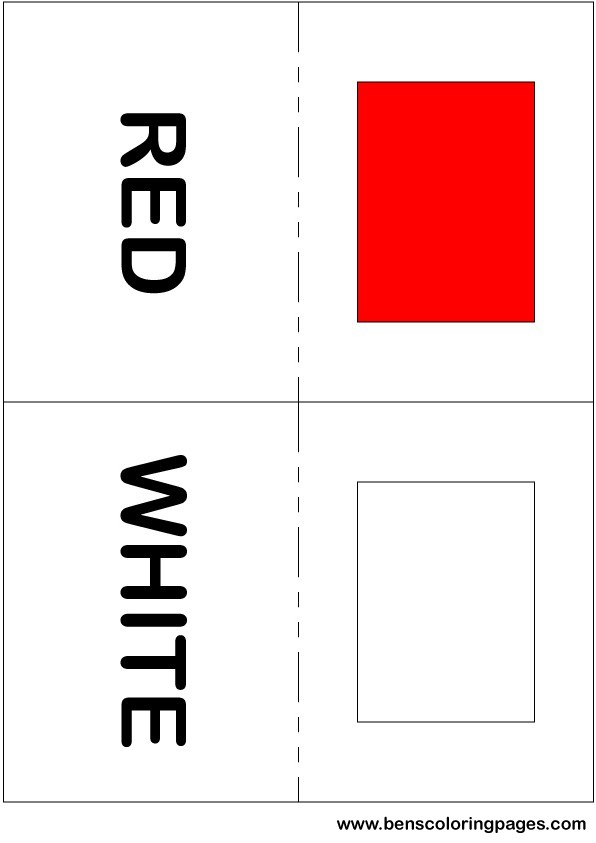 Red and white colors flashcard in English