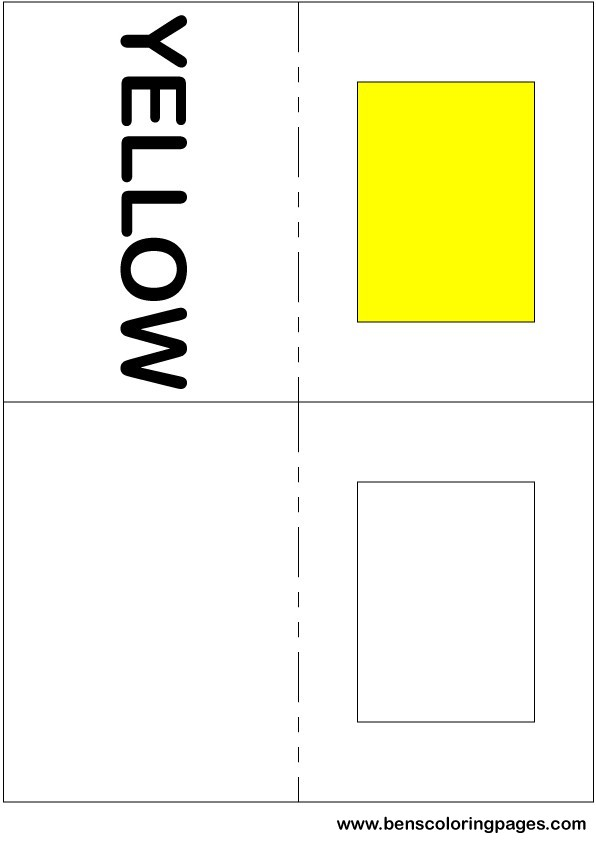 Yellow color flashcard in English