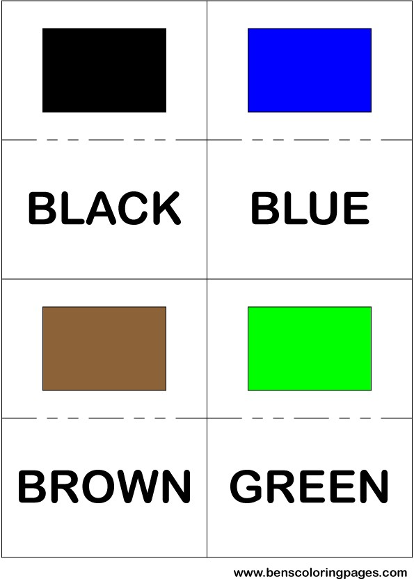 Black blue brown and green colors flashcard in English
