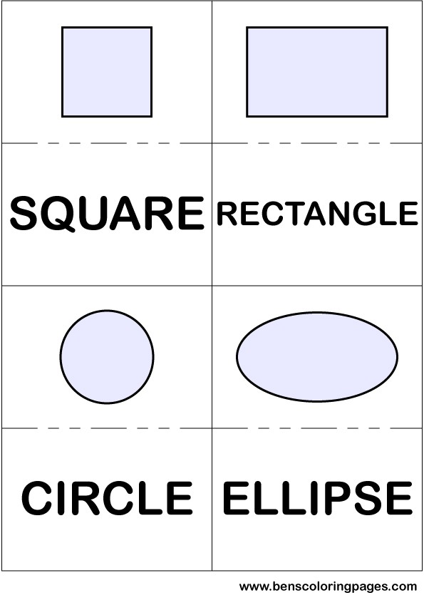 Square rectangle circle and ellipse flashcards in English