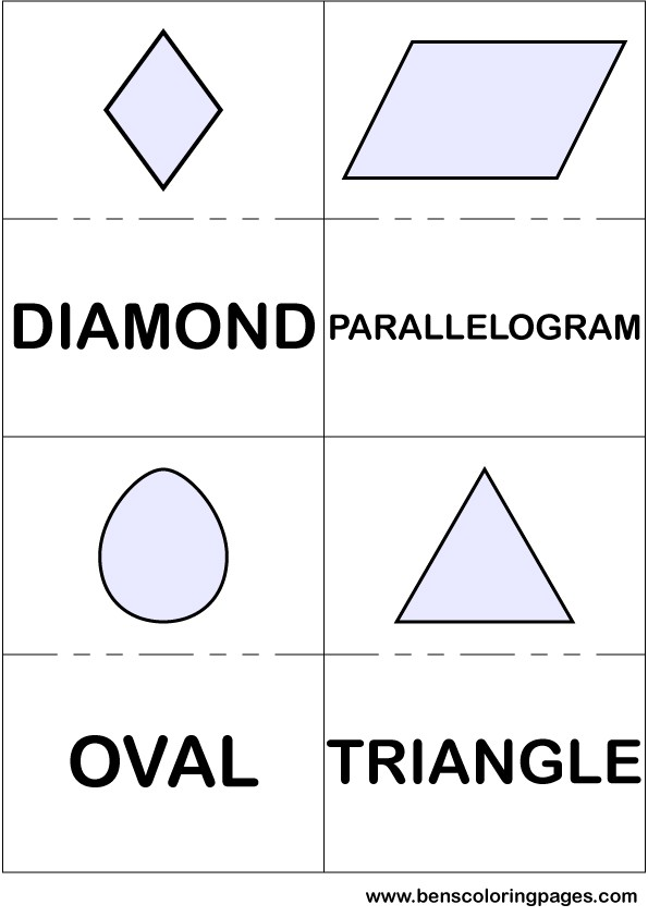 Diamond parallelogram oval and triangle flashcards in English