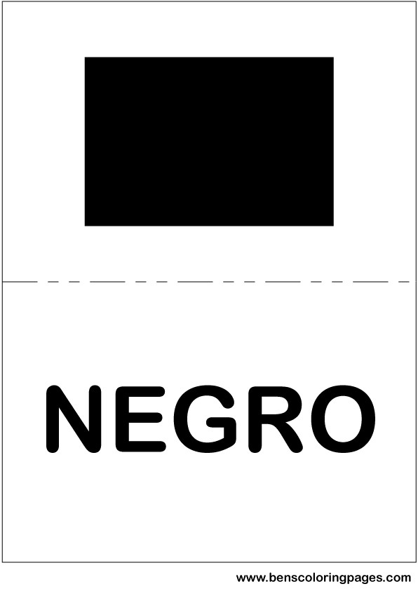 Black color flashcard in Spanish
