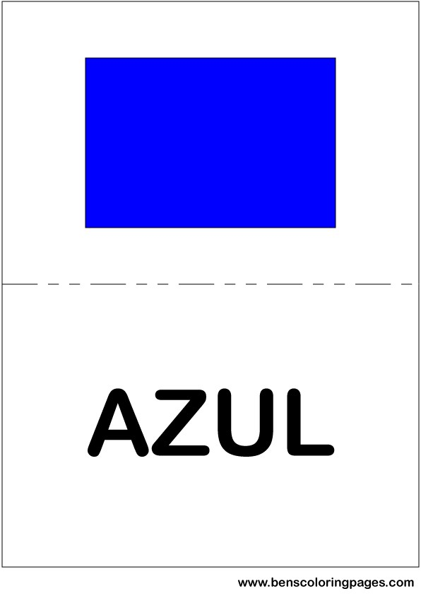 Blue color flashcard in Spanish