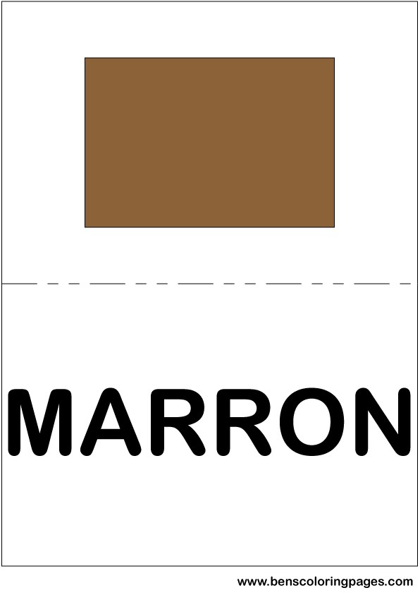 Brown color flashcard in Spanish