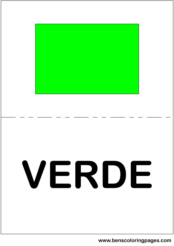 Green color flashcard in Spanish