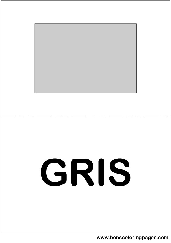 Grey color flashcard in Spanish