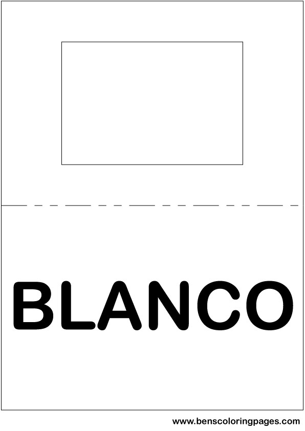 White color flashcard in Spanish