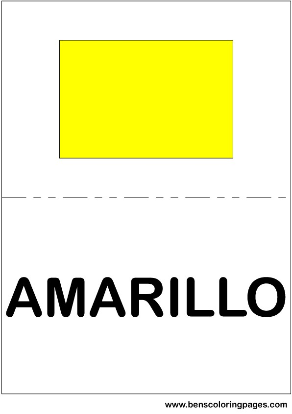 Yellow color flashcard in Spanish