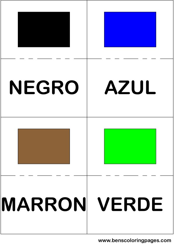 Black blue brown and green colors flashcard in Spanish