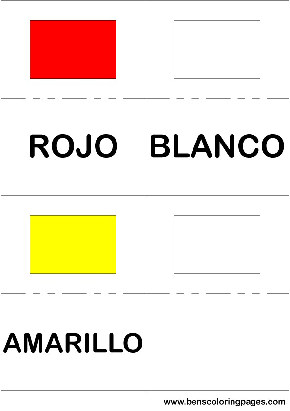 Red white and yellow colors flashcard in Spanish