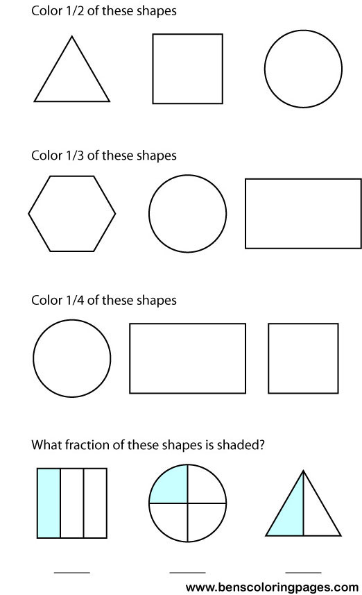 fractions educational picture for school