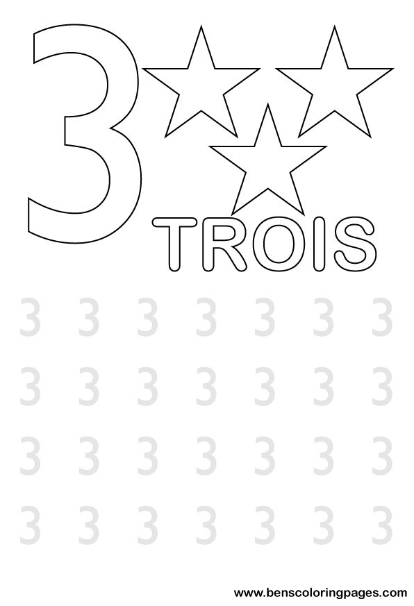 number three writing in french