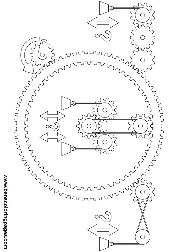 Printable Goldberg complex gears and pulleys exercise for kids