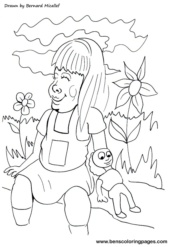 girl doll coloring picture to print