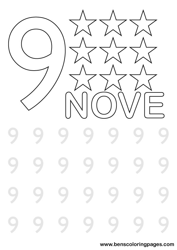Click to print number nine activity sheet