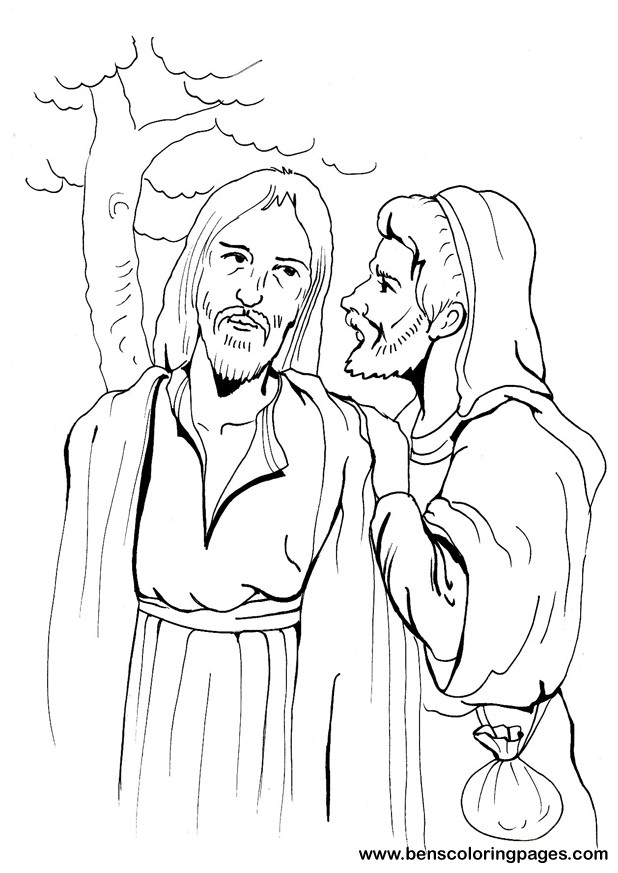 Judas Betrays Jesus With A Kiss Coloring Page