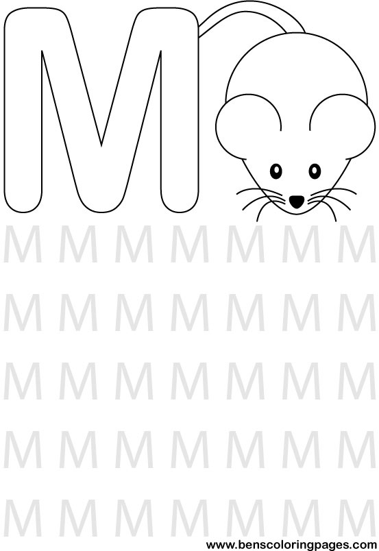 Learning alphabet Letter M preschool coloring pages