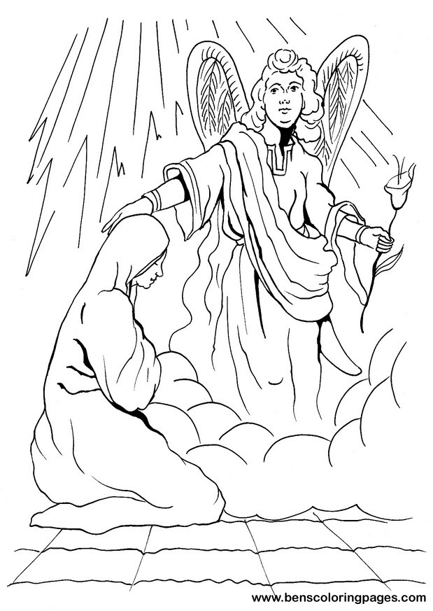 Mary and Gabriel coloring page