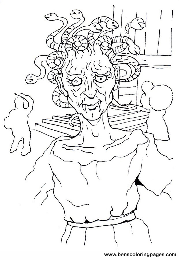 Medusa free coloring pages for Medusa coloring pages