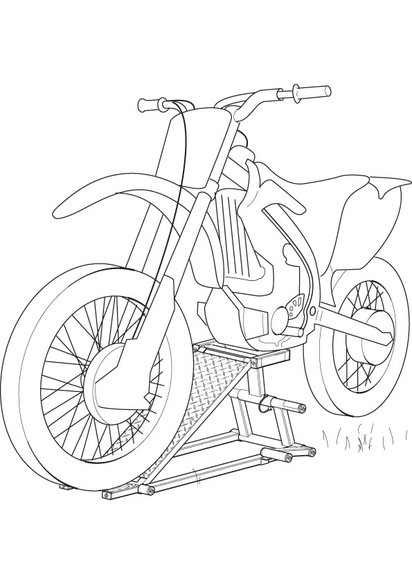 simple motorcycle drawing sketch coloring page