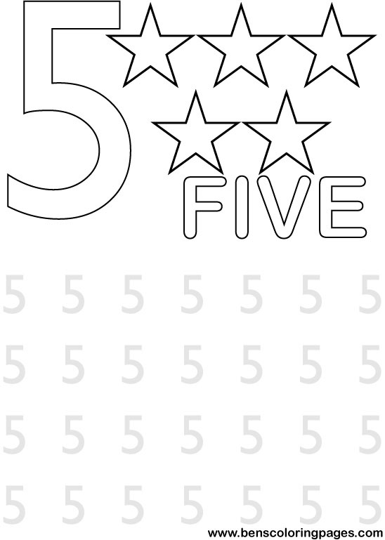 Fun with numbers school coloring page for Number 5 coloring page