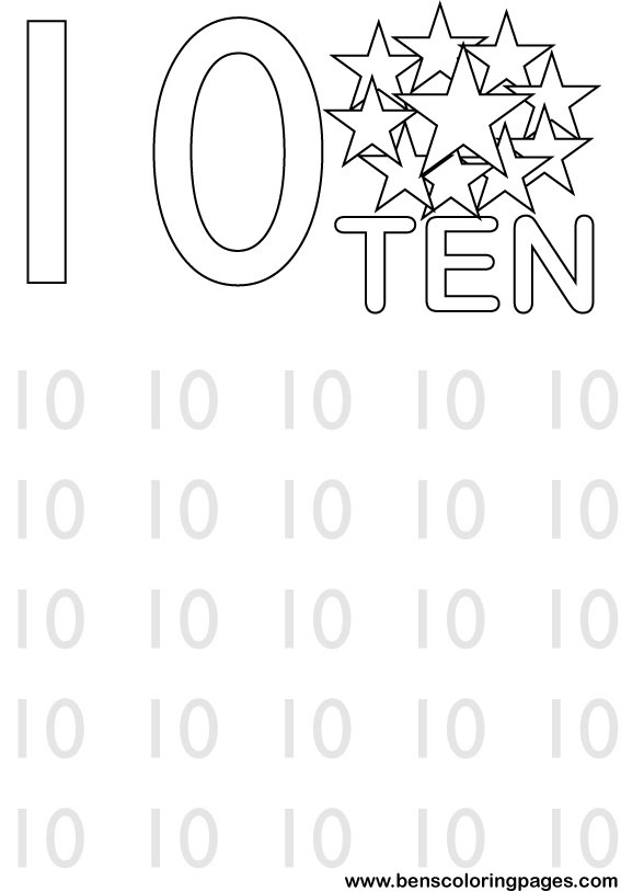 ten stars coloring pictures for students