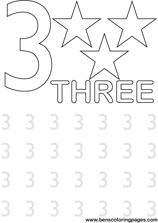 Free Coloring Pages Of Tracing Number Three